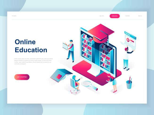 Modern plat ontwerp isometrisch concept van online onderwijs voor banner en website. Isometrische sjabloon voor bestemmingspagina's. Online trainingen, specialisatie, universitaire studies. Vector illustratie.