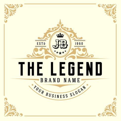 Vintage luxe monogram logo sjabloon vector