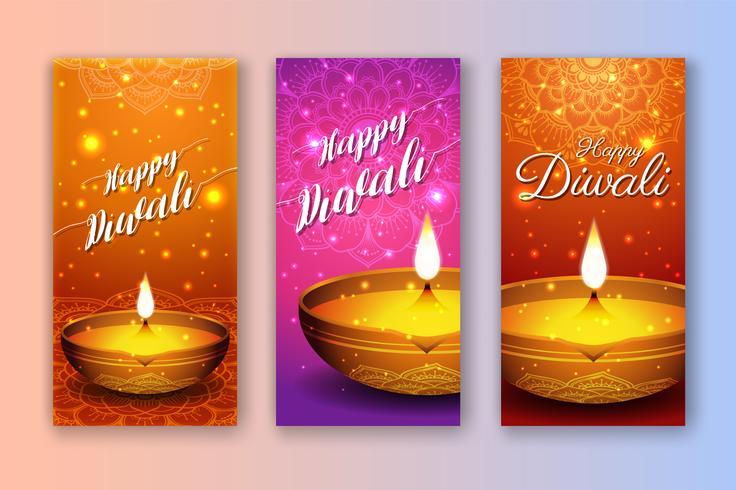 Van de het festivalverkoop van Diwali de banner en afficheachtergrond vector