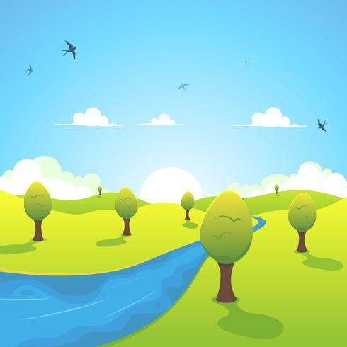 Lente of zomer rivier en vliegende zwaluwen vector