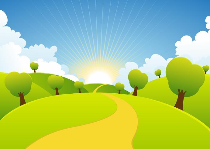 Lente of zomer seizoenen plattelandsachtergrond vector