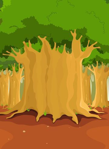 Grote bomen in het bos vector