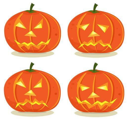 Halloween pompoenen instellen vector