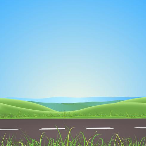 Lente of zomer weg met bergen achtergrond vector