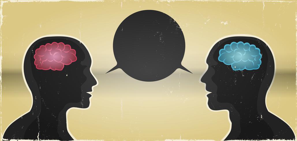 Grunge man en vrouw communicatie achtergrond vector