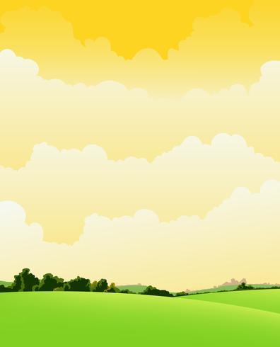 Lente en zomer Bewolkt landschap vector