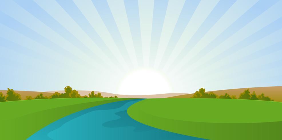 Cartoon rivierlandschap vector