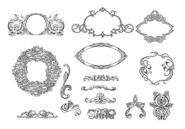 Geëxtreerde Frames & Ornamenten Vector Pack