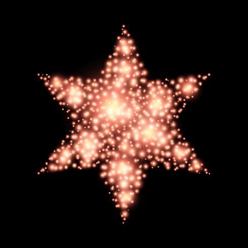 Vier-gerichte Kerstmisdecoratie van ster abstracte lichten op zwarte vector