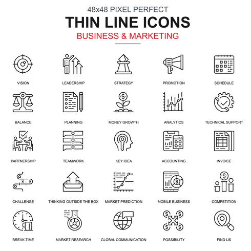 Dunne lijn bedrijfs en marketing geplaatste pictogrammen vector