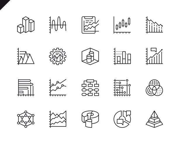 Eenvoudige reeks diagrammen en diagrammen Verwante vectorlijnpictogrammen vector
