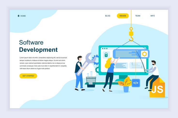 Modern plat ontwerpconcept van softwareontwikkeling vector