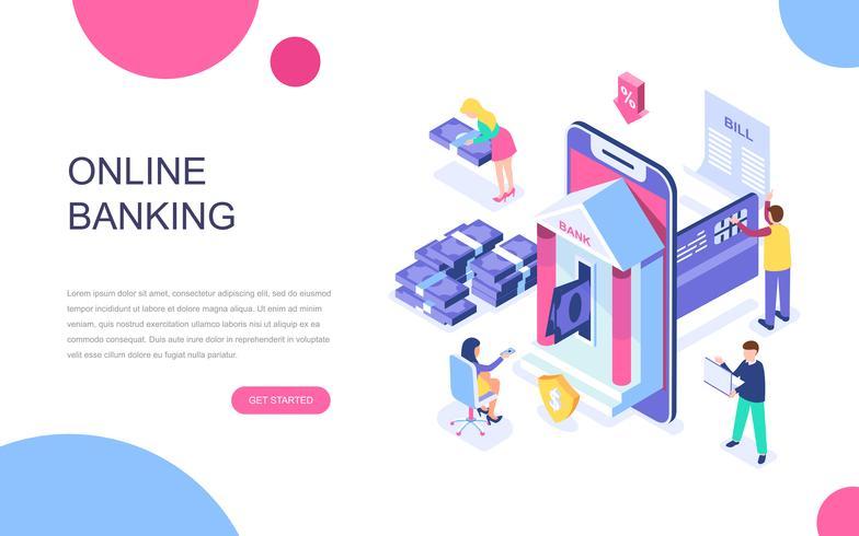 Modern plat ontwerp isometrisch concept van online bankieren vector