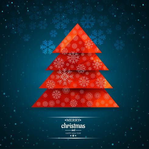 Vrolijke Kerstmis decoratieve boom met kaart achtergrondillustratio vector