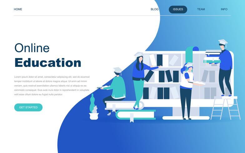 Modern plat ontwerpconcept van online onderwijs vector