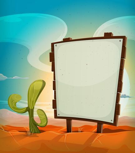 Zomer Mexicaanse woestijn met houten bord vector