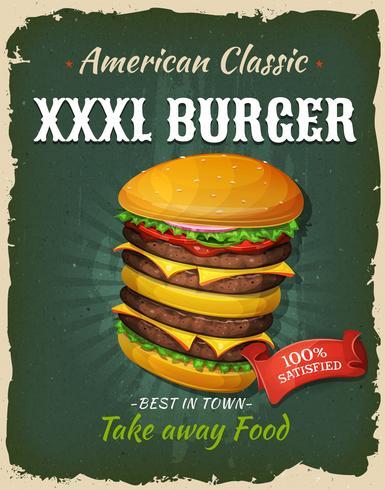 retro fastfood king size hamburger poster vector