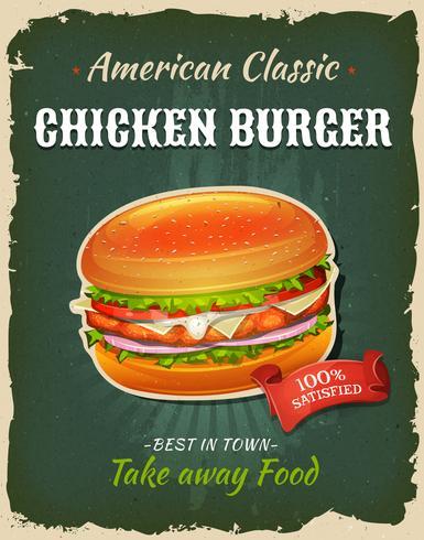 Retro fastfood kip hamburger poster vector