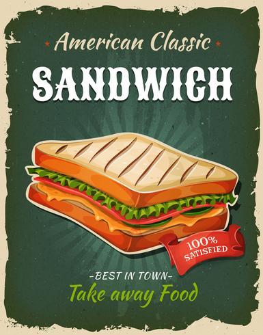 Retro poster van de snel voedsel sandwich vector