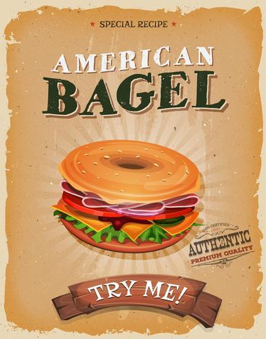 Amerikaanse bagel snack poster vector