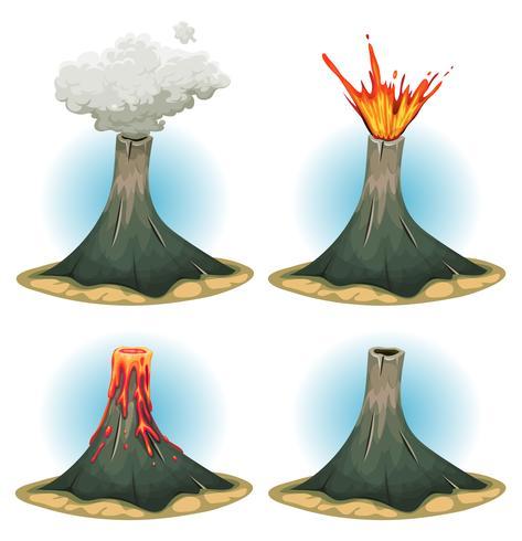 Vulkaangebergte ingesteld vector