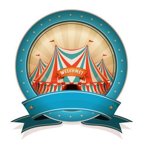 Vintage Circus Badge met lint en Big Top vector