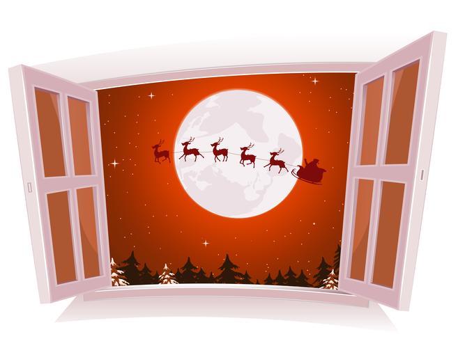 Kerstlandschap buiten het raam vector