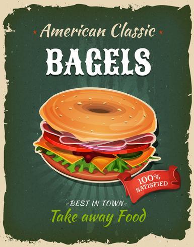 retro fastfood bagel poster vector