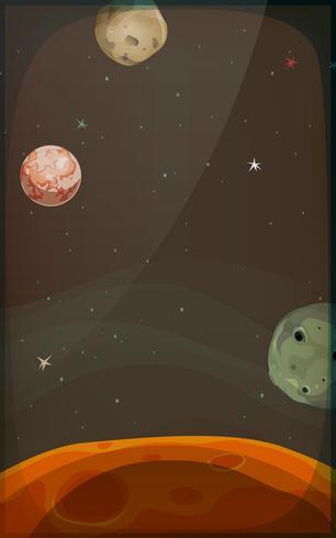 Ruimteachtergrond met planeten en sterren voor mobiel vector