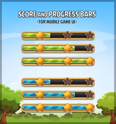 Score en voortgangsbalken voor Game Ui vector