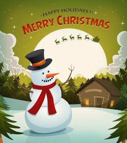 Kerstavond met sneeuwman achtergrond vector