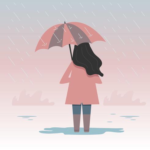 Meisje houdt paraplu Vector