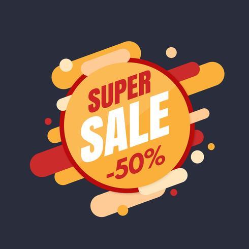 Super verkoopbanner, kleurrijk en speels ontwerp vector