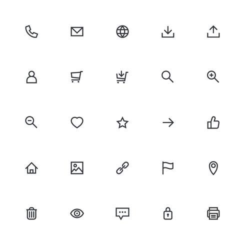 Meest gebruikte webdesign-iconen, ui-set vector
