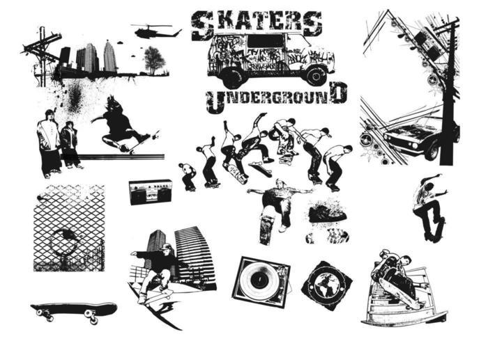 Skateboarders vector pack