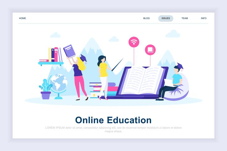 Online onderwijs moderne platte ontwerpconcept vector