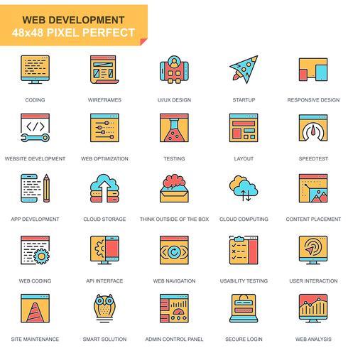 Web ontwerp en ontwikkeling iconen vector