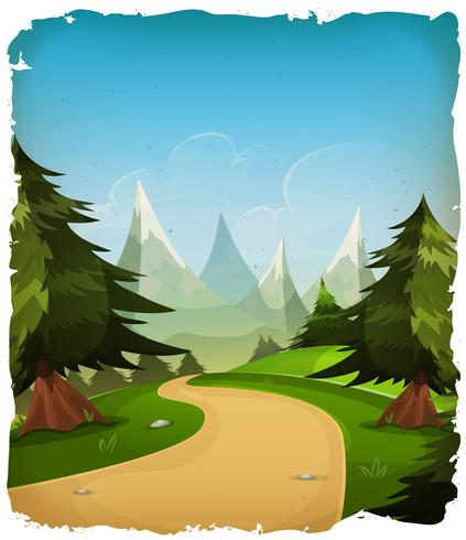 Cartoon bergen landschap achtergrond vector