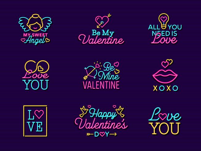 Neon Valentine Vectoretiketborden vector