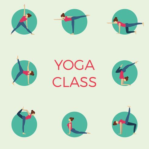 De vlakke Minimalistische Yogaklasse vormt Vectorillustratie vector