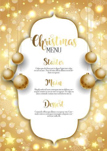 Kerstmisachtergrond met gouden hangende snuisterijen vector