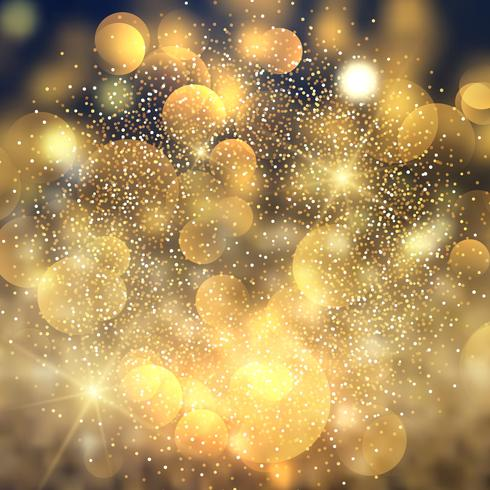 Gouden bokeh licht achtergrond vector