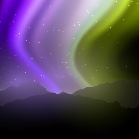 Nachtlandschap met noordelijke lichtenhemel vector