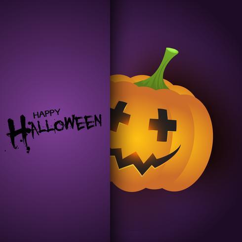 Halloween-achtergrond met leuke pompoen vector