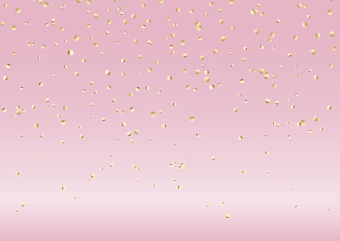 Dalende gouden confetti op roze achtergrond vector