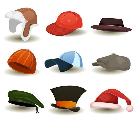 Caps, tophoeden en andere hoofddekselset vector