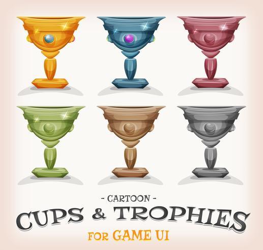 Winnaars bekers en trofeeën voor spel UI vector
