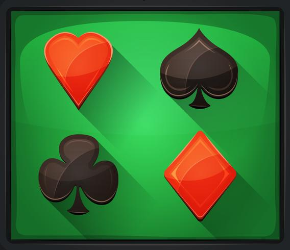 Casino Poker Pictogrammen Op Groene Loper vector