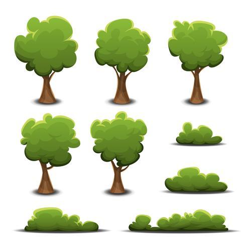 Bos bomen, struik en hagen ingesteld vector