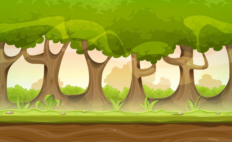 Naadloze bos bomen en hagen landschap voor Game Ui vector